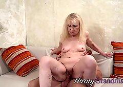 Dirty granny rides huge pole