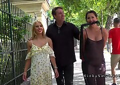 Naked babe in sheer dress disgraced in public