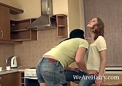 Hairy girls Emilija and Ksenija like to get dirty