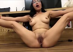 Asian Chick With A Hairy Pussy Masturbating For Me